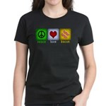 Peace Love and Bacon Women's Dark T-Shirt