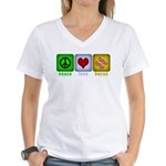 Peace Love and Bacon Women's V-Neck T-Shirt