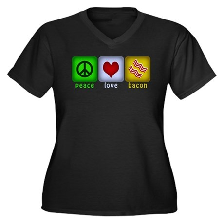 Peace Love and Bacon Women's Plus Size V-Neck Dark