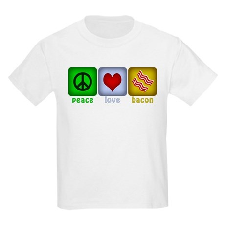 Peace Love and Bacon Kids Light T-Shirt