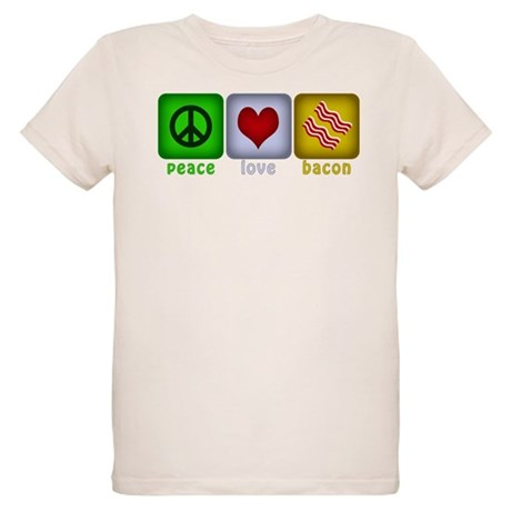 Peace Love and Bacon Organic Kids T-Shirt