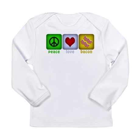 Peace Love and Bacon Long Sleeve Infant T-Shirt