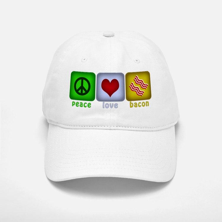Peace Love and Bacon Baseball Baseball Cap