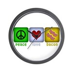 Peace Love and Bacon Wall Clock