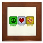 Peace Love and Bacon Framed Tile