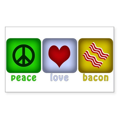 Peace Love and Bacon Sticker (Rectangle)