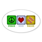 Peace Love and Bacon Sticker (Oval 10 pk)