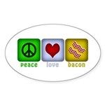 Peace Love and Bacon Sticker (Oval 50 pk)