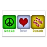Peace Love and Bacon Sticker (Rectangle 10 pk)