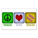 Peace Love and Bacon Sticker (Rectangle 50 pk)