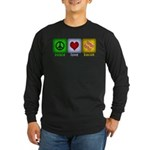 Peace Love and Bacon Long Sleeve Dark T-Shirt