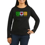 Peace Love and Bacon Women's Long Sleeve Dark T-Sh
