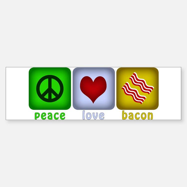 Peace Love and Bacon Sticker (Bumper)