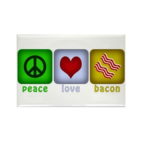 Peace Love and Bacon Rectangle Magnet
