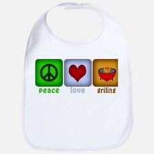 Peace Love and Grilling Bib
