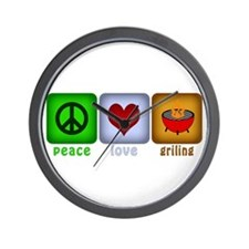 Peace Love and Grilling Wall Clock