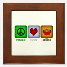 Peace Love and Grilling Framed Tile