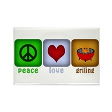 Peace Love and Grilling Rectangle Magnet