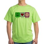 Peace Love and Donuts Green T-Shirt