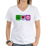 Peace Love and Donuts Women's V-Neck T-Shirt