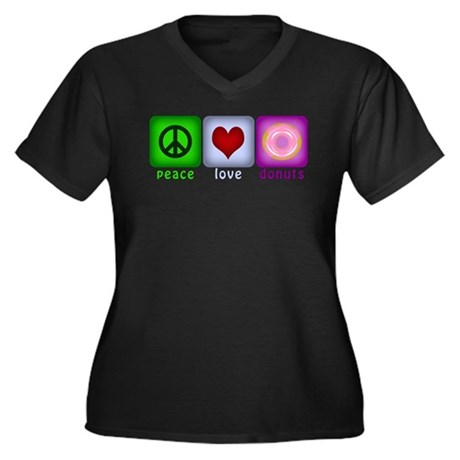 Peace Love and Donuts Women's Plus Size V-Neck Dar