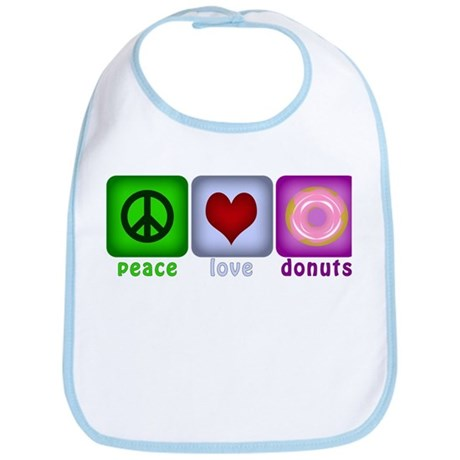 Peace Love and Donuts Bib