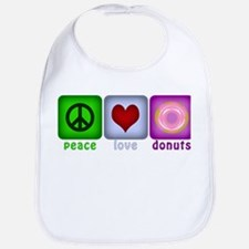 Peace Love and Donuts Bib