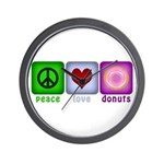 Peace Love and Donuts Wall Clock