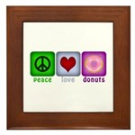 Peace Love and Donuts Framed Tile