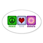 Peace Love and Donuts Sticker (Oval 10 pk)