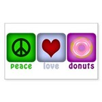 Peace Love and Donuts Sticker (Rectangle 10 pk)