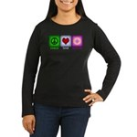 Peace Love and Donuts Women's Long Sleeve Dark T-S