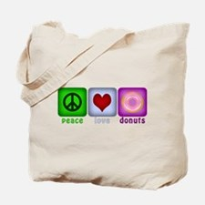 Peace Love and Donuts Tote Bag