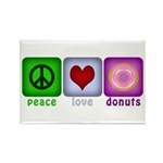 Peace Love and Donuts Rectangle Magnet (10 pack)