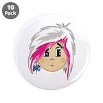 "Cute Emo Punk Girl 3.5"" Button (10 pack)"