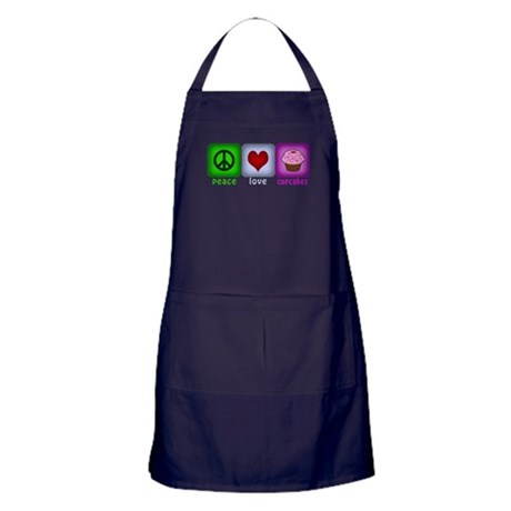Peace Love and Cupcakes Apron (dark)