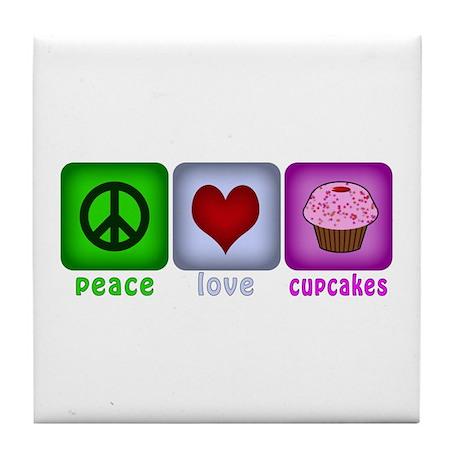 Peace Love and Cupcakes Tile Coaster