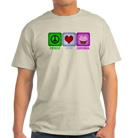 Peace Love and Cupcakes Light T-Shirt