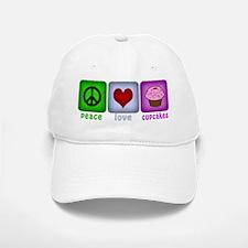 Peace Love and Cupcakes Baseball Baseball Cap