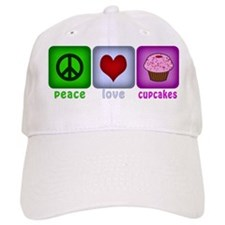 Peace Love and Cupcakes Baseball Cap