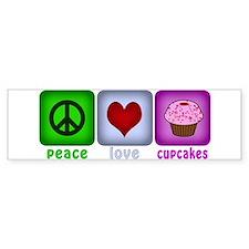 Peace Love and Cupcakes Bumper Sticker