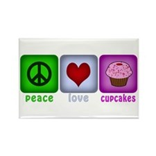 Peace Love and Cupcakes Rectangle Magnet