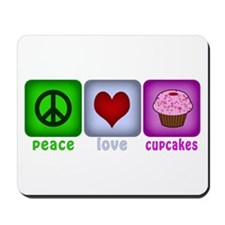 Peace Love and Cupcakes Mousepad