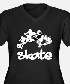 Skateboarding Women's Plus Size V-Neck Dark T-Shir