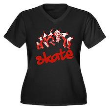 Skateboarding Women's Plus Size V-Neck Dark T-Shir