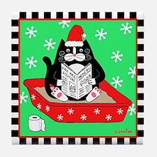 Christmas Tuxedo Cat in Litter Box Tile Coaster
