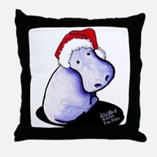 Holiday Hippo Throw Pillow