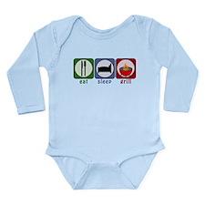 Eat Sleep Grill Long Sleeve Infant Bodysuit
