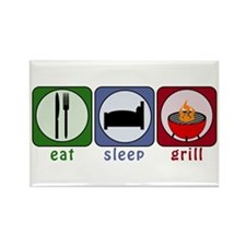 Eat Sleep Grill Rectangle Magnet