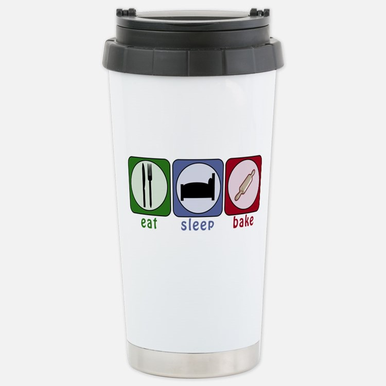Eat Sleep Bake Stainless Steel Travel Mug